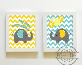 Elephant  Nursery  Decor , Nursery or Toddler Room Decor -   Elephant Print Set of 2 - 8 x 10 , You are my sunshine