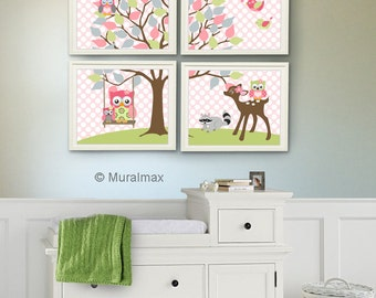 Baby Girl Nursery Art , Kids Room Nursery Decor, Owl Nursery Decor , Set of Four 8x10, Girls Room Decor - Woodland Animals