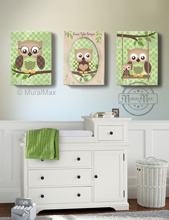 Owl kids art owl decor art for children owls nursery art for Canvas prints childrens bedrooms