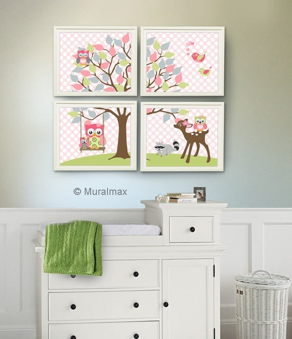 Nursery Art For Children Kids Wall Art Baby Girl Nursery Baby: Baby Girl Nursery Art Kids Room Nursery Decor Owl Nursery