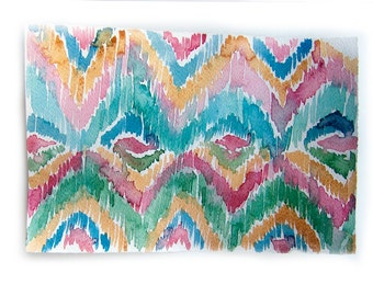 Watercolor painting original. Ikat painting.Art original.Wall art