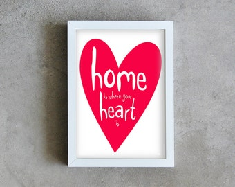 Home art print, home love poster, red heart print, love home art, home decoration, wall art, home, heart