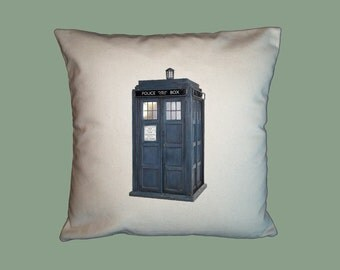 Dr. Who Tardis, British Police Box HANDMADE 16x16 Pillow Cover  -Choice of Fabrics