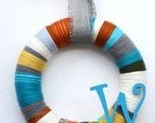 """14"""" Multicolor front door monogram yarn wreath - The Phoebe"""