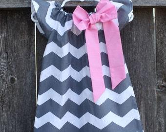 Gray Chevron Pink Bow Peasant Dress - Baby Girl