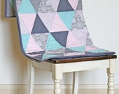 Modern Triangle Blanket Quilt Pink Gray Aqua Throw Cot Bed Girl