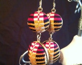 Kente stripes dangle earrings with gold finish