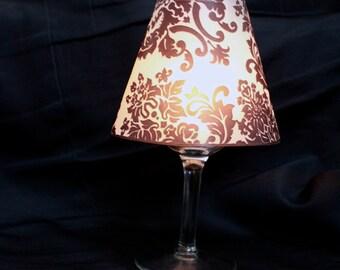 Damask Luminary Wine Glass Cover, Damask Lamp Shade, Damask Wine Luminary, Damask Table Decor, Damask Wedding- set of 10