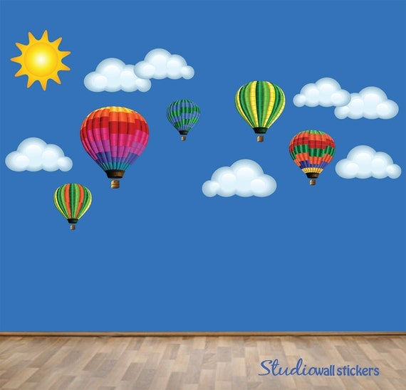 Hot Air Balloons Wall Decal REUSABLE Wall DECAL