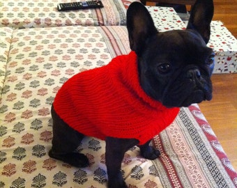 French Bulldog Knit Handmade Ruffled Dress-Sweater for Dogs
