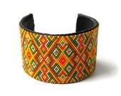 Cuff bracelet, peyote cuff, wide cuff bracelet, beaded cuff, hammered cuff, statement bracelet boho jewelry beadwork bracelet, ethnic cuff
