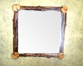 "Rustic, old, Log mirror frame 30"" X 30"""