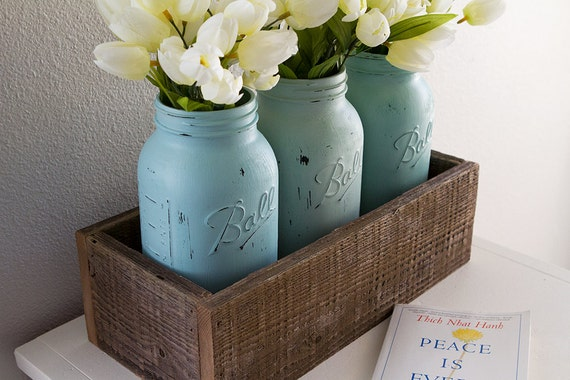 Items similar to large hand painted mason jars with wood