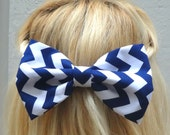 Navy Blue chevron bow hair clip - big bow - bow barrette - kawaii - feminine