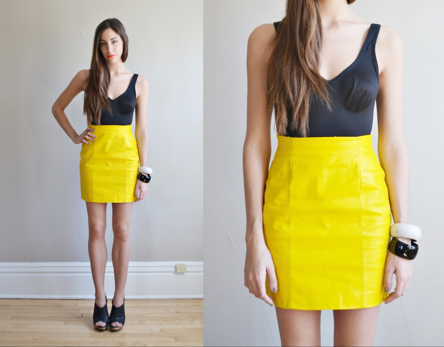 vtg 80s neon yellow high waist leather mini skirt fitted