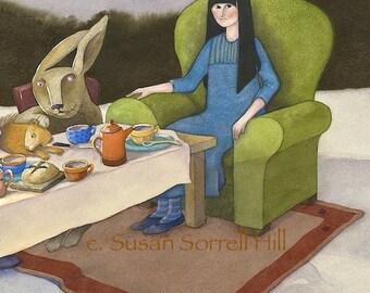 Mad Tea Party - Alice in Wonderland - original watercolor - surreal fantasy fairytale watercolour - book illustration - dream imagination