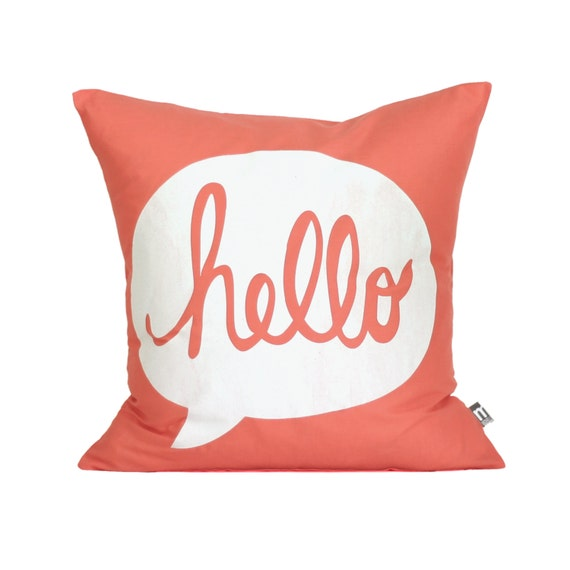 "HELLO Pillow Cover // 16""x16"" Silk Screen Coral Pillow Cover"
