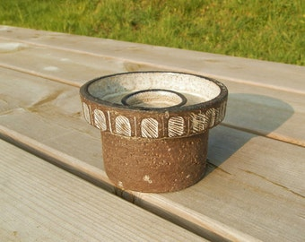 Vintage Danish Modern Stoneware Candle Holder / Nordic Mid Century / Scandanavian Decor