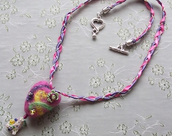 Whimsical Hand Felted Beaded Heart Pendant Necklace