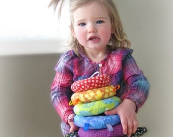 Custom Sensory Soft Ring Stacker Toy,   Rainbow Baby Stacking Rings,    Sensory Baby Toy,    Made to Order