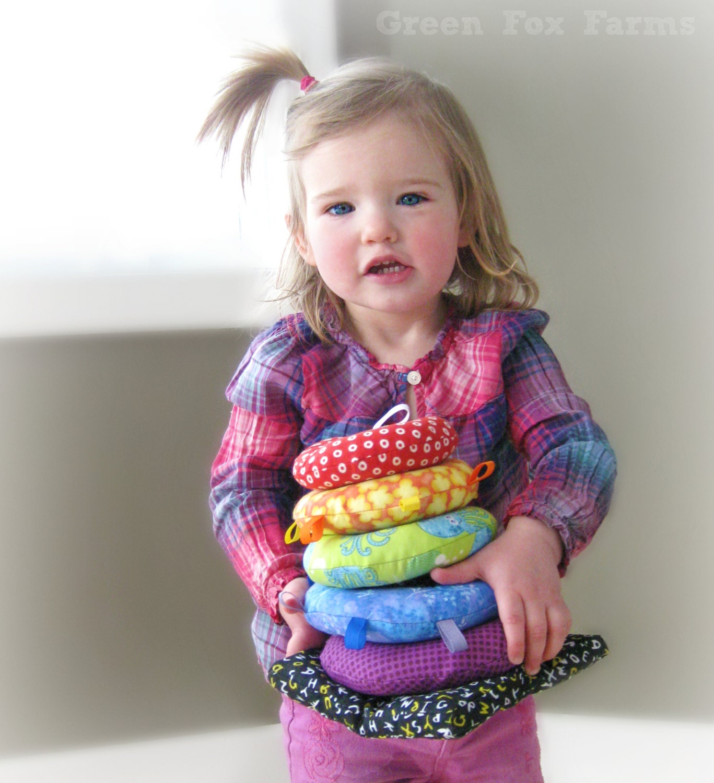 Custom Sensory Soft Ring Stacker Toy Rainbow Baby Stacking
