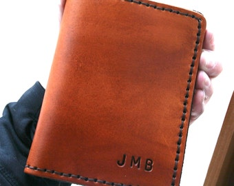 Bifold Leather Wallet. Mens Wallet, Personalized mens leather wallet with initials, personalized gift dad, 3rd anniversary gift for husband