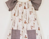 Girls Woodland Walk and brown gingham classic tunic dress with pockets age 4