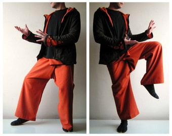Thai Fisherman Pant -  Fishermen Pants  - Yoga Pant - Wrap Pants  - Men - Women - Meditation - Plain  - Boho - Fishermans - Orange
