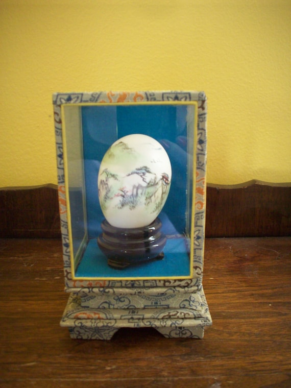 Hand Painted Chinese Egg In Glass Case Oriental By