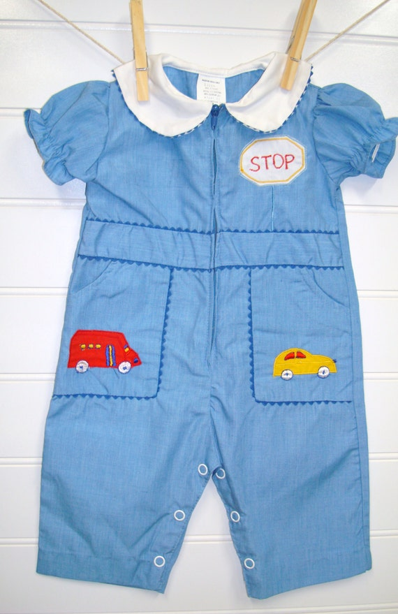 vintage baby clothes baby boy romper with cars and trucks