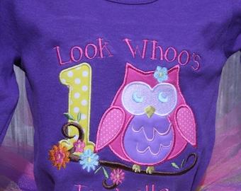 Owl Blossoms Birthday Onesie or Shirt