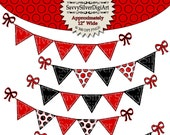 Red & Black Bunting Clipart - Instant Download Printable Digital Clipart, Polka Dot Bunting, Banner Flags, Stitched Bunting