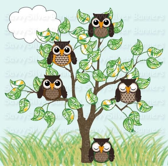 Items similar to Cute Owl Clipart - Nature Clipart, Green ...