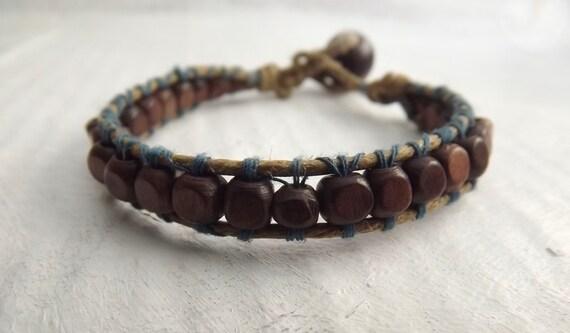 Wood Wrap Bracelet with Hemp Cord and Blue Cotton Thread Single Wrap Bracelet Wood Beads