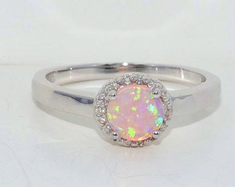 Pink Opal & Diamond Round Ring .925 Sterling Silver Rhodium Finish