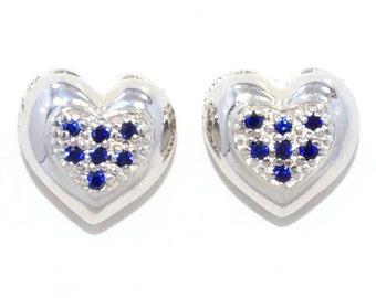 Blue Sapphire 'Always & Forever' Heart Stud Earrings .925 Sterling Silver Rhodium Finish
