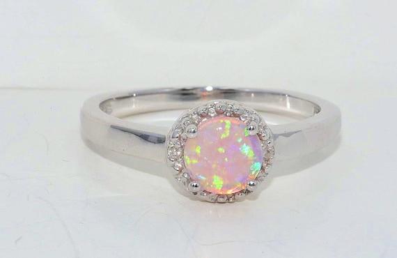 Pink Opal & Diamond Round Ring .925 Sterling Silver Rhodium