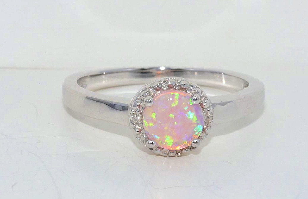 Pink Opal & Diamond Round Ring .925 Sterling Silver Rhodium