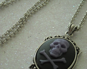 Purple skull and crossbones necklace