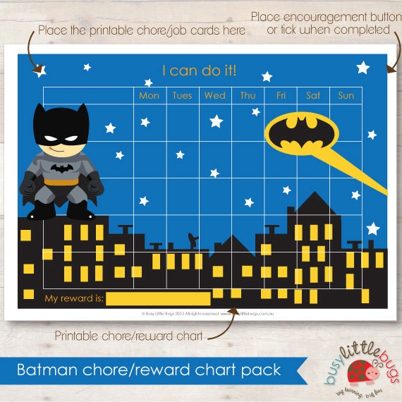 Batman Chore Reward Chart Pack Automatic By Busylittlebugsshop
