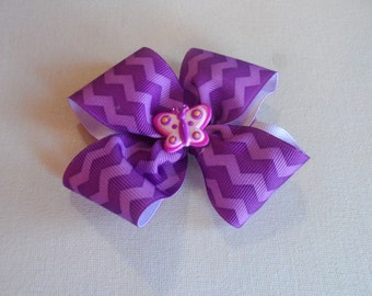 Purple and Lavender Chevron Bow With Butterfly Center