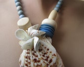 Seashell statement necklace and earring set