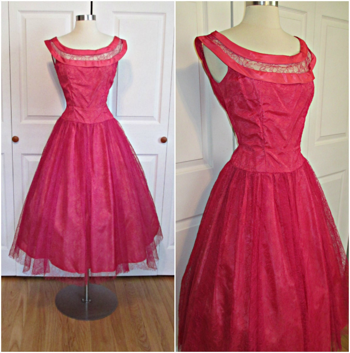 1950 s Vintage Hot Pink Lace Party Prom Dress by