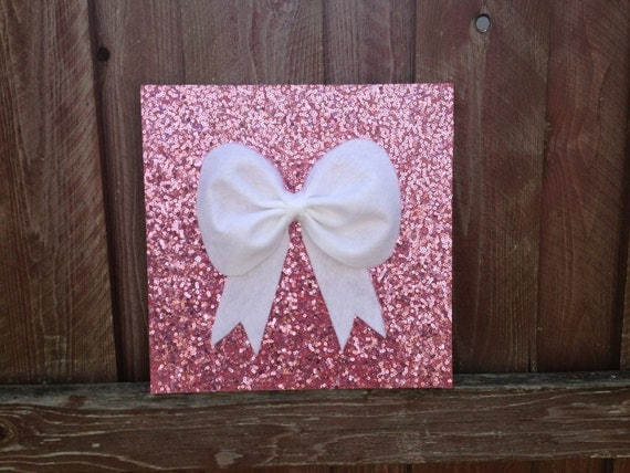 Items similar to Pink sequence Bow Wall hanging Wall