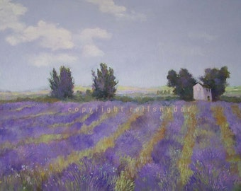 Lavender Fields print French country, flowers in landscape, house and garden, blue, art, painting, trees and fields, purple, floral, trees