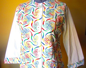 Vintage 60s Long Sleeved Embroidered Blouse