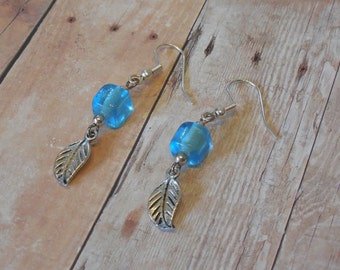 Silver and Light Blue Leaf Earrings - E-012