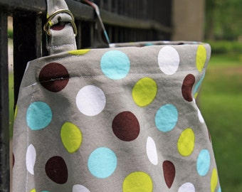 Gray Nursing Cover with Blue, White, Green and Brown Dots. (Breastfeeding Cover)