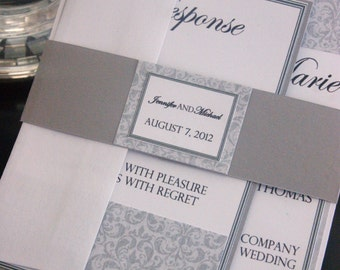Grey Wedding Invitation Suite