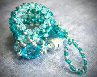 Aqua Blue & Turquoise Silver Bracelet (400-550 Beads)